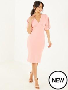 quiz-crepe-angel-sleeve-midi-dress-pink