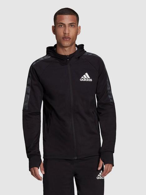 adidas-plus-size-tape-detail-zip-hoodie-blackwhite