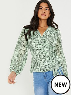 quiz-georgette-frill-wrap-top-print