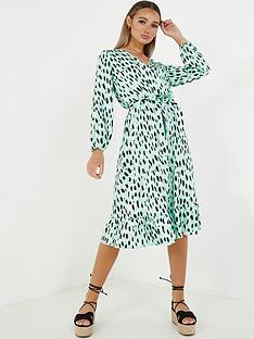 quiz-printed-midi-dress-green