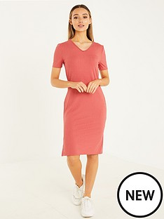 quiz-ribbed-t-shirt-dress-with-small-side-slit-rose