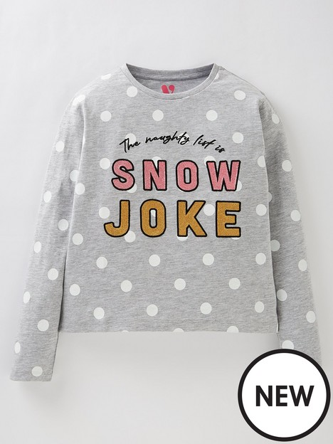 v-by-very-girls-christmas-snow-joke-t-shirt-grey
