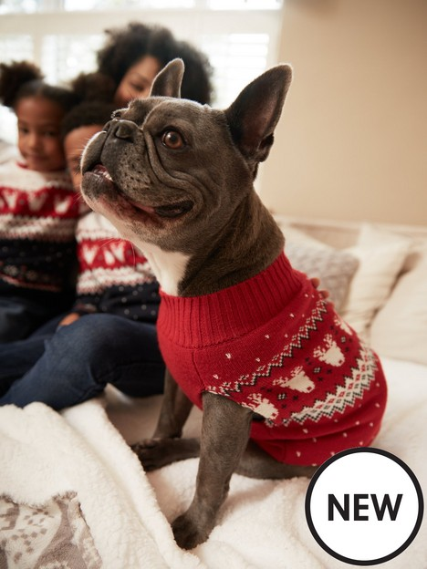v-by-very-christmasnbspknitted-family-reindeer-fairisle-dog-jumper-red