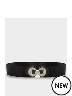 yours-textured-double-circle-wide-belt-black