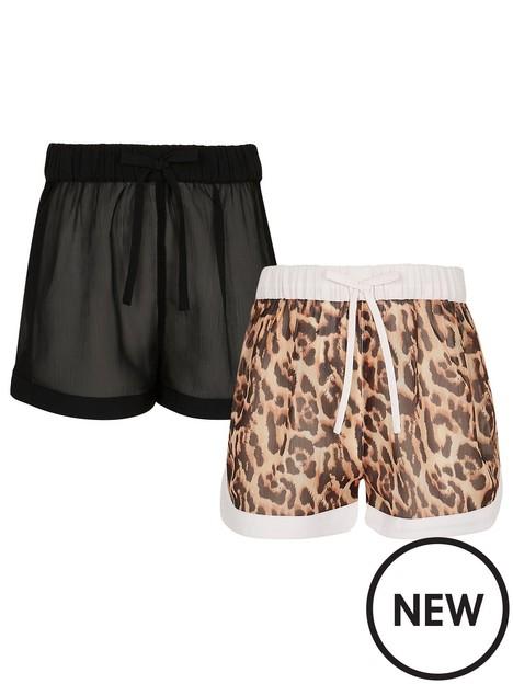 river-island-girls-2-pack-beach-shorts-multi