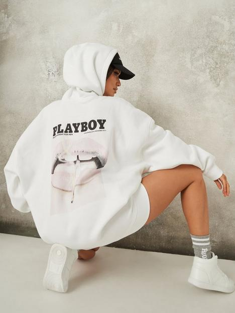 missguided-missguided-playboy-oversized-lip-print-hoodie-dress-white
