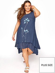 yours-yours-floral-double-layer-linen-look-dress-navy