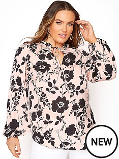 yours-yours-tie-frill-neck-blouse-pink