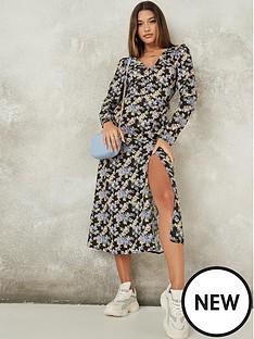 missguided-missguided-half-button-midi-long-sleevenbsptea-dress-black