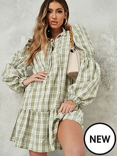 missguided-missguided-tie-front-drop-hem-smock-dress-green