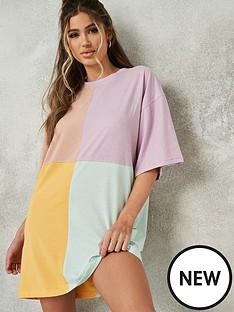 missguided-missguided-oversizednbspshort-sleevenbspcolour-block-t-shirtnbspdress-purple