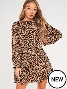 missguided-missguided-high-neck-tienbspsmock-long-sleevenbspdress-leopard