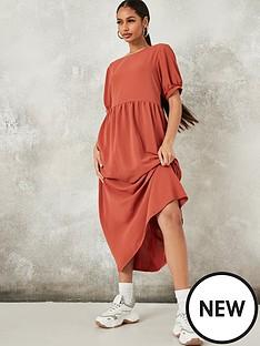 missguided-missguided-puff-sleeve-midi-smock-dress-rust
