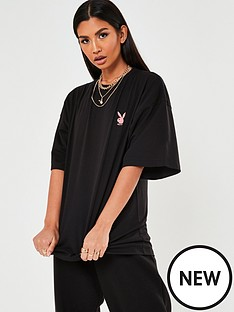 missguided-missguided-playboy-logo-detail-oversized-t-shirt-black