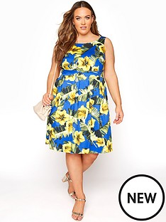 yours-yours-sleeveless-skater-dress-yellow
