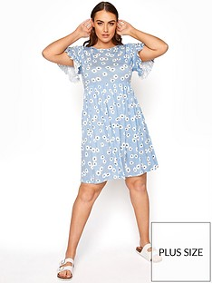 yours-yours-limited-floral-frill-sleeve-dress-blue