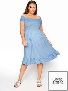 yours-yours-acid-wash-shirred-midi-bardot-dress-bluenbsp