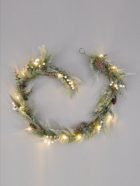 pre-lit-mistletoe-and-fern-christmas-garland-ndash-180-cmnbsp