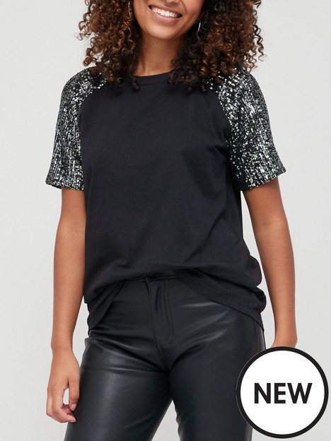 v-by-very-sequin-sleeve-loose-fit-tee-black