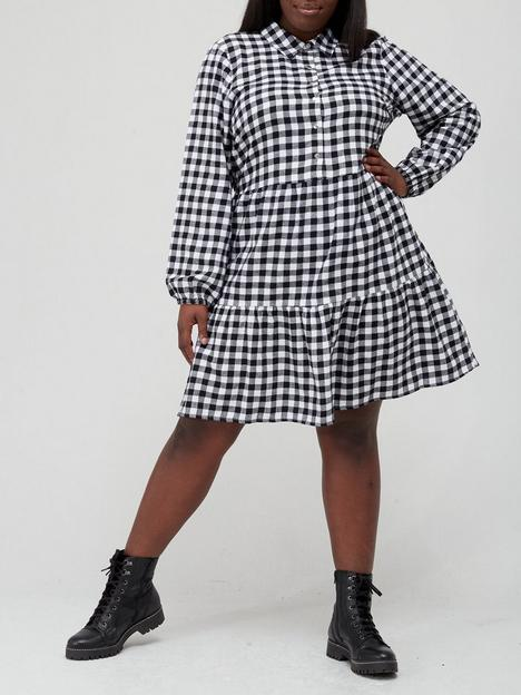 v-by-very-curve-mono-check-tiered-mini-dress-shirt-dress-blackwhitenbsp