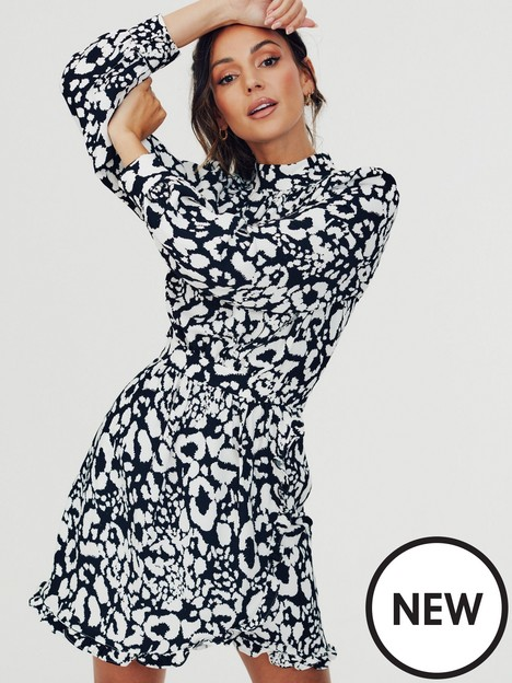 michelle-keegan-high-neck-printed-short-dress-monochrome-animal-print