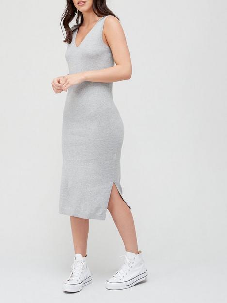 superdry-100-cotton-v-neck-midi-dress-grey
