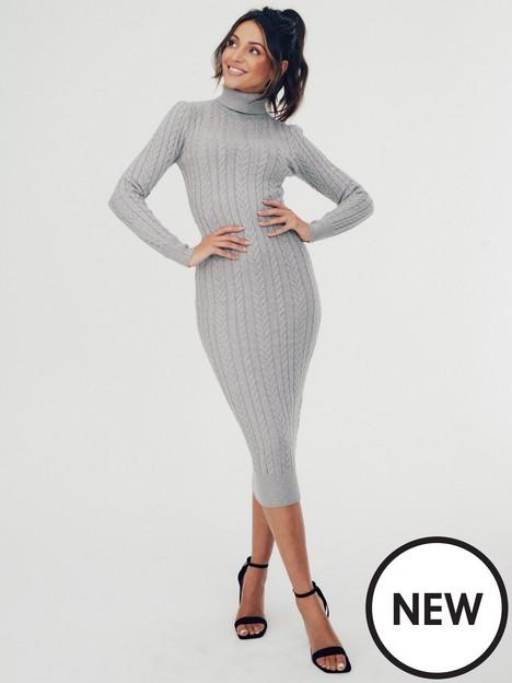 michelle-keegan-high-neck-knitted-midi-dress-grey