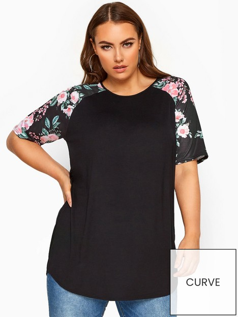 yours-yours-limited-spun-poly-printed-floral-spun-poly-printed-floral-sleeve-black-ve-top