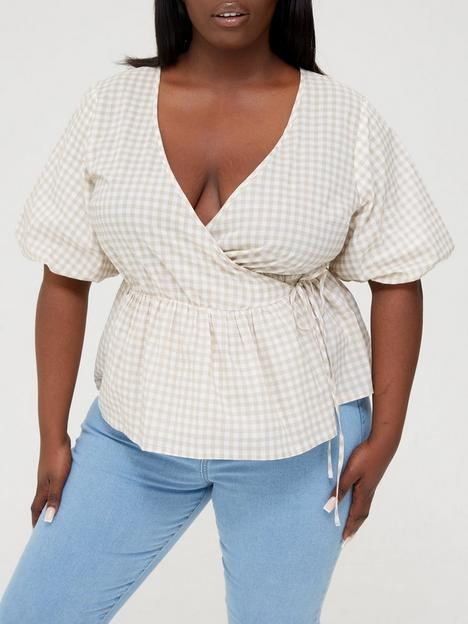 in-the-style-curve-in-the-style-curve-xnbspjacnbspjossanbspcheck-wrap-top-with-puff-sleeves-stonenbsp