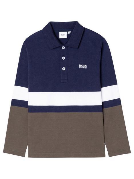 boss-boys-colourblock-long-sleeve-polo-brownkhaki