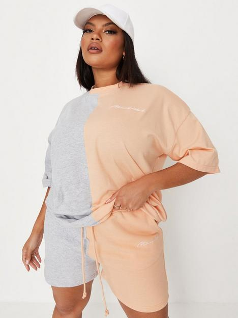 missguided-plus-missguided-plus-colourblock-oversized-t-shirt-peach