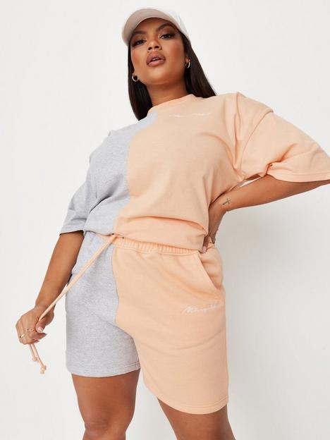missguided-plus-missguided-plus-colourblock-jogger-shorts-peach