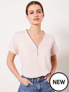 mint-velvet-mint-velvet-pale-pink-zip-batwing-knit-top