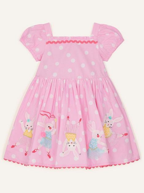 monsoon-baby-girls-dancing-bunny-spot-dress-pink