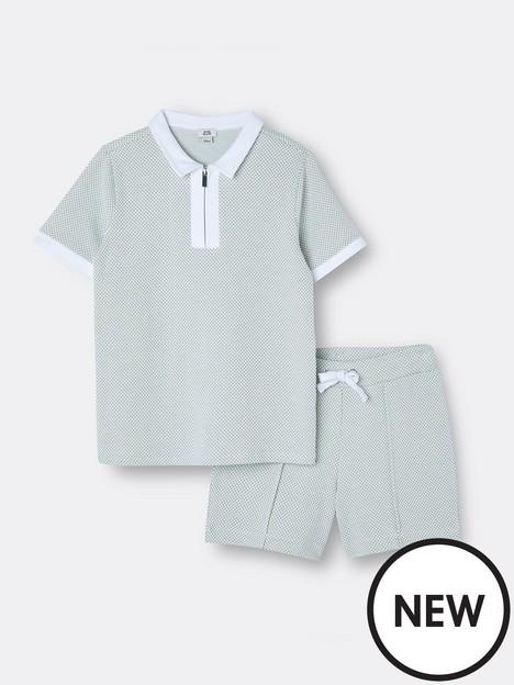 river-island-boys-textured-tshirt-and-short-set-blue