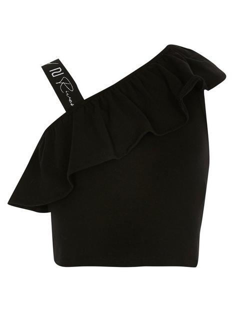 river-island-mini-girls-ri-branded-frill-top-black