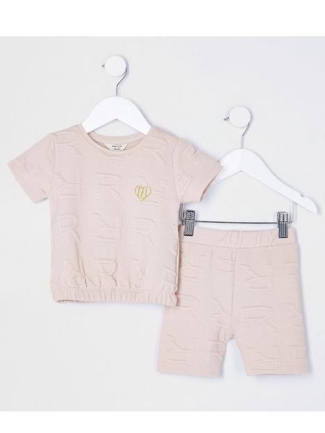 river-island-mini-mini-girls-monogram-tshirt-and-cyclin-short-set-beige