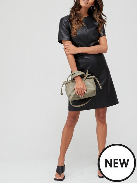 v-by-very-pu-shift-dress-black