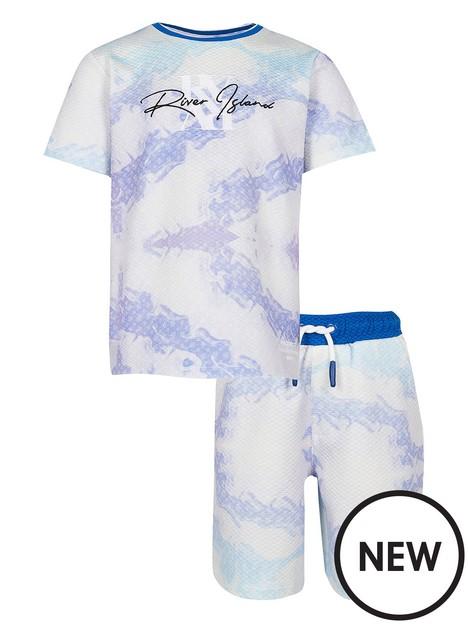 river-island-boys-textured-marble-tshirt-and-short-set-blue