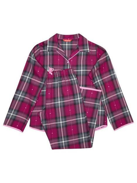 minijammies-girls-mini-me-natasha-heart-dobby-check-long-sleeve-woven-pyjamas-cerise