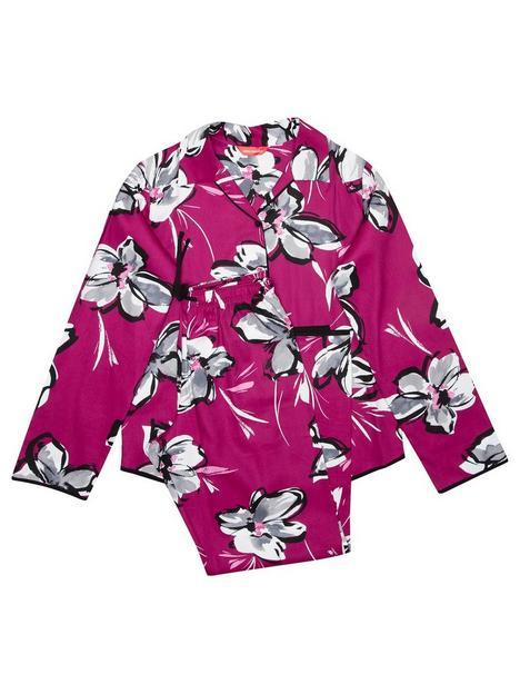 minijammies-girls-natasha-floral-long-sleeve-woven-pyjamas-cerise