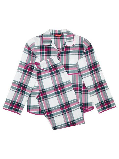minijammies-girls-mini-me-penny-check-long-sleeve-woven-pyjamas-creampink