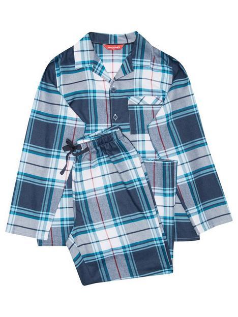 minijammies-boys-lewis-check-long-sleeve-woven-pyjamas-navy