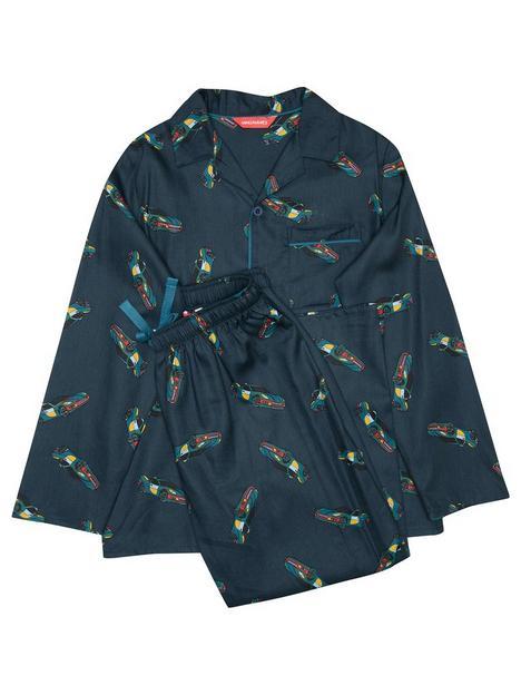 minijammies-boys-lewis-old-racer-car-long-sleeve-woven-pyjamas-navy