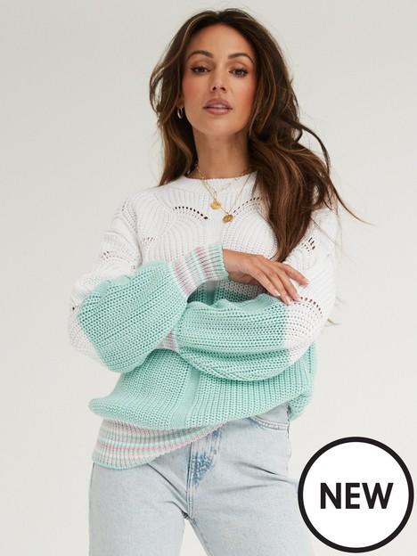 michelle-keegan-colour-block-stripe-cuff-jumper-multi