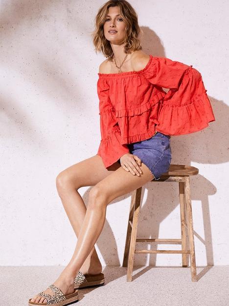 mint-velvet-dobby-fluted-sleeve-bardot-top-red