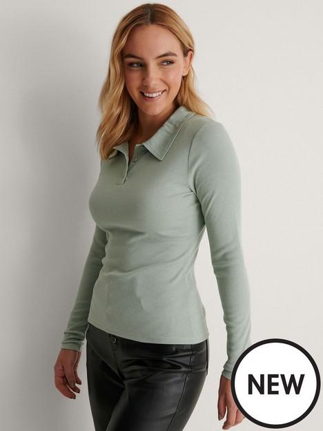 na-kd-button-collar-top-light-green
