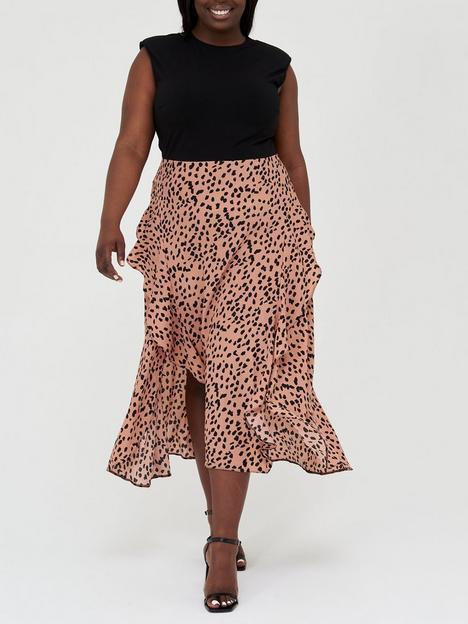 ax-paris-curve-printed-black-top-peach-printed-skirt-peach