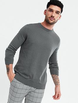 new-look-mens-basic-crew-neck-knit-jumpernbsp--grey