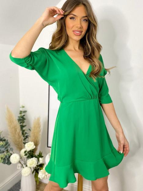 ax-paris-frill-hem-mini-dress-green